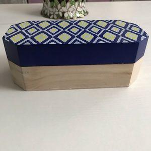 Yellow & Blue Geometric Wood Box